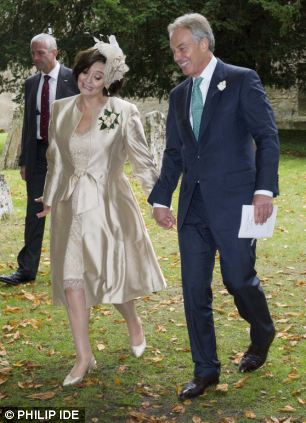Tony and Cherie Blair leaving All Saints Church in Wotton Underwood, Bucks following the wedding of their son Euan
