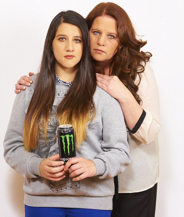 Source of her symptoms: Gina Weaver, 15, with her mother Jenni, 40, became ill after drinking too much Monster