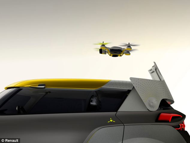 The quadcopter is stored on the roof, and a small panel opens to allow it to fly