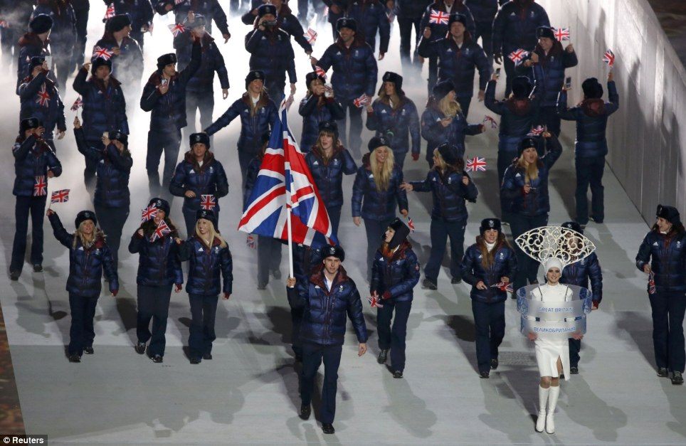 Pride of Britain: Britain's flag-bearer Jon Eley leads the Team GB contingent onto the stadium during the opening ceremony