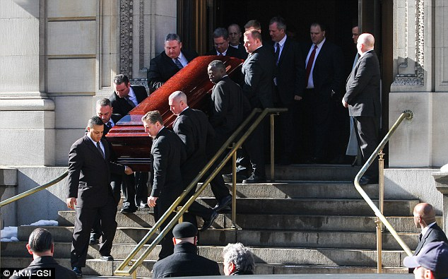 The casket of Philip Seymour Hoffman leaves the Church of St Ignatius in Manhattan on Friday as family and friends mourned the loss of the talented actor