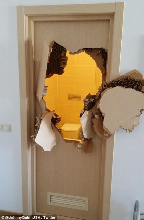 Johnny Quinn forced to use his 'push training' to break down door of Sochi hotel