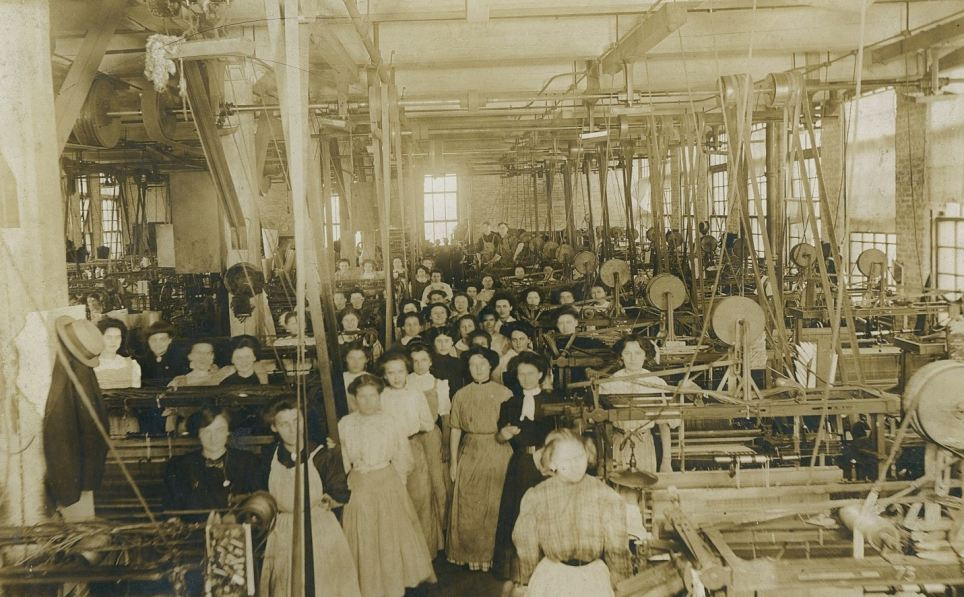 The way it was: inside a similar silk mill in Buffalo, upstate New York, before World War One. Its mostly female workforce are shown in front of silk looms which they operated