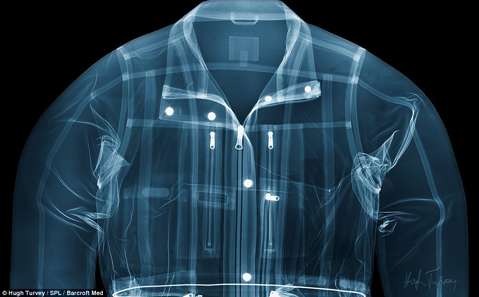 Looking sharp: The stitching and fastenings of this jacket can be seen clearly in the photograph. Mt Ruvey said people who work with X-rays are often driven to explore the workings of everyday objects