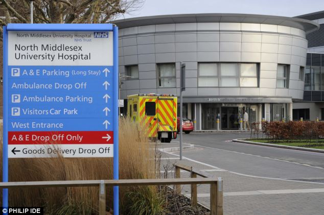 Stacking: The closure of Chase Farm's A&E has also heaped pressure on North Middlesex University Hospital, where 34 extra ambulances have flocked to the trust every day since the closure