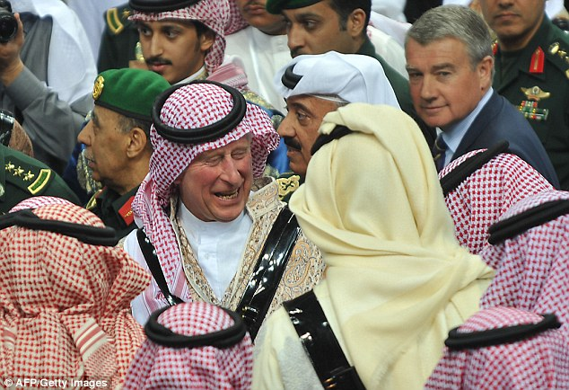 Prince Charles wearing traditional Saudi costume joined members of the Saudi royal family in an Ardah