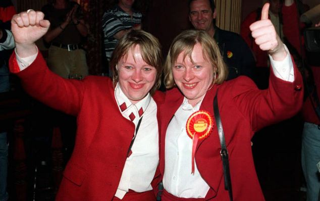 Sisters Maria Eagle (left) and Angela Eagle became the first twins to enter Parliament following the 1997 general election when Angela retained her Wallasey seat, while Maria won Liverpool Garston