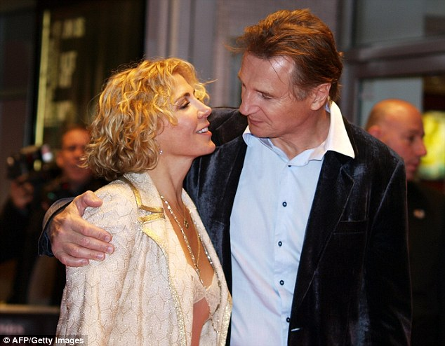 Look of love: Neeson and Richardson a year before her death in a skiing accident