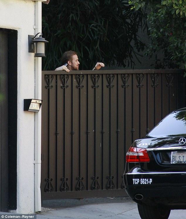 Ryan Gosling Appears At Eva Mendes Hollywood Hills Home