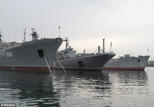 Power: Many boats from Russia's Black Sea Fleet are stationed in the Crimean port of Sevastopol