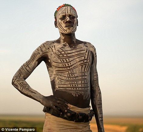 For the men, the body paint is meant to make them look more attractive and courageous