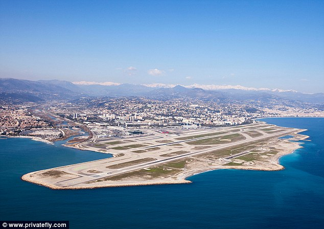 Nice Cote d'Azur International Airport, France gives passengers a 'beautiful approach either from North East over the Alps then Monaco or West with the red Esterel mountains on the left and blue Med on the right'