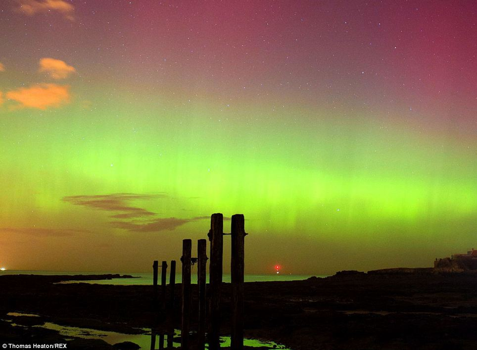 The aurora was due to last for several hours before fading during the early hours of this morning