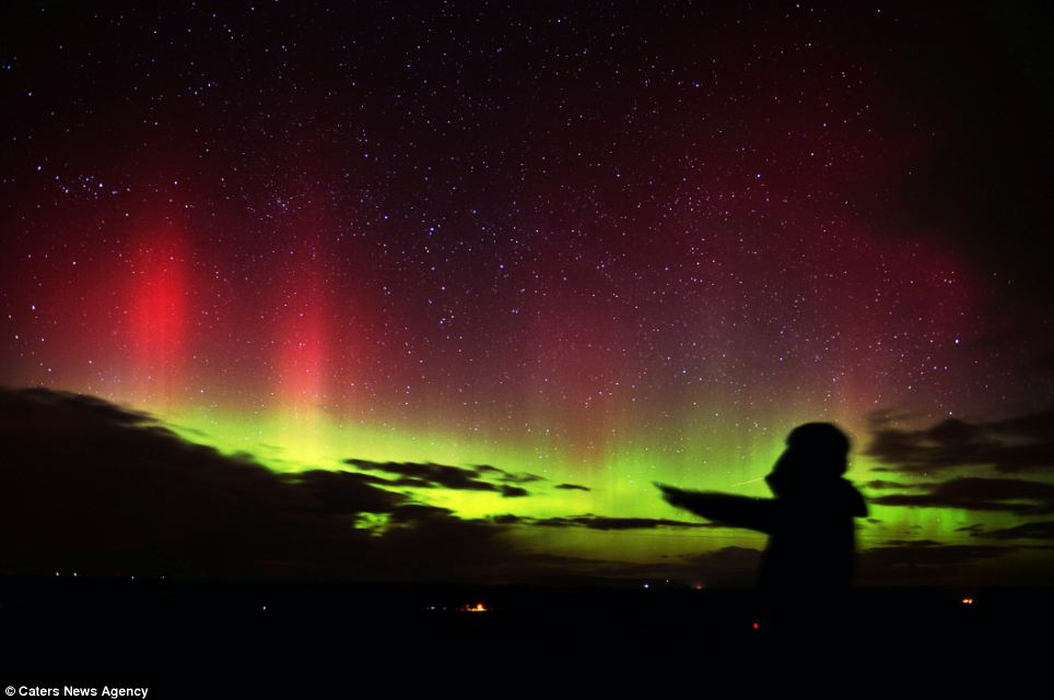 Stunning: The Northern Lights were also visible in the North East of England. Above, the Aurora Borealis light up the sky near Hallbankgate in North Cumbria