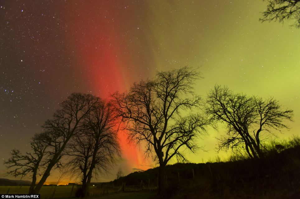 Out of this world: And they also appeared over areas of Scotland, such as Carrbridge in Inverness-shire (pictured)