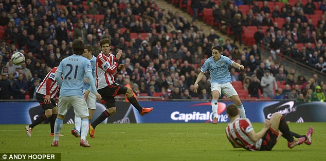 Deadly: Samir Nasri fired home Manchester City's second goal in quick succession