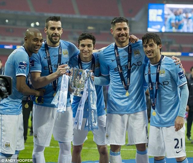 Lining up: Fernandinho, Alvaro Negredo, Navas, Javi Garcia and David Silva
