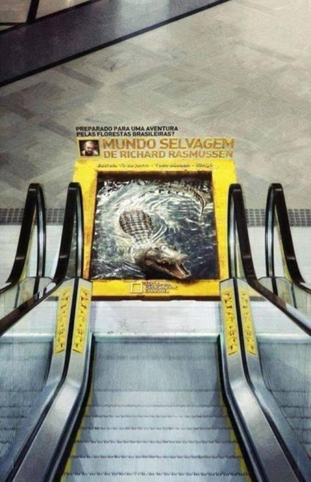 Make it snappy: The 3D crocodile advert at the foot of an escalator in Brazil
