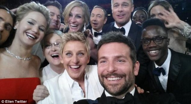 Best selfie ever? Ellen DeGeneres took a moment out from hosting duties to grab this selfie with some of her favourite celebrities