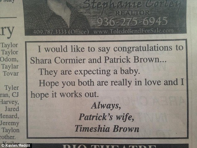Angry: This is the newspaper advertisement that names and shames Patrick Brown and Shara Cormier for their alleged affair by the scorned wife of Patrick