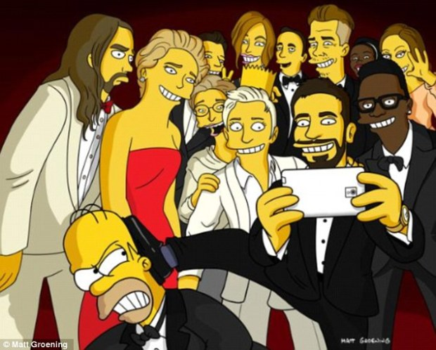 Wide shot: The Simpsons creator Matt Groening on Tuesday shared a cartoon version of the famous Oscars selfie showing Homer Simpson getting booted from the frame