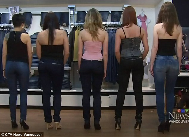 Transformed: 'When you put them on, it's like stepping into a standing ovation. You can't help but strut,' gushed one shopper (pictured: the customers in Ivido jeans)