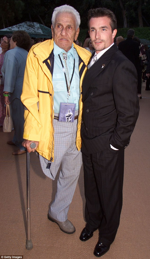 'Wild Bill' is seen here with the actor that played him in Band of Brothers, Frank John Hughes, at the premiere of the HBO series in Los Angeles in 2001