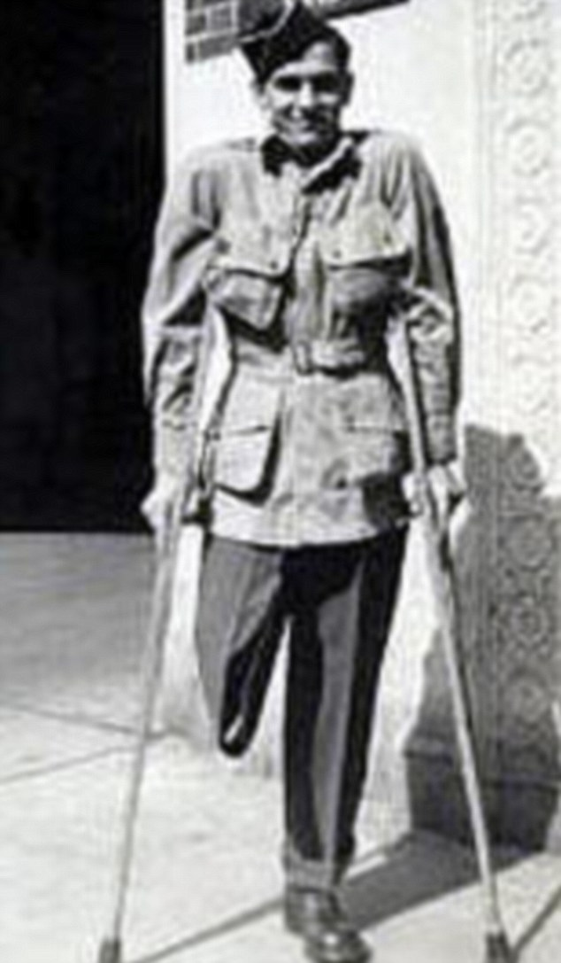 William Guarnere lost a leg while helping a wounded soldier during the Battle of the Bulge. This photo was reportedly taken as he left hospital at the time