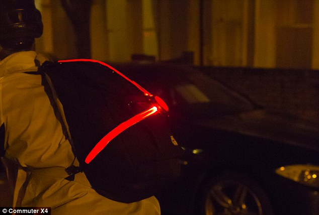 The Commuter X4 rear lighting system for cyclists, pictured, was designed to give them better protection and make them more visible on the road at night