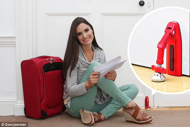The Doorjammer, pictured, is a portable door-stop for use in hotels to give travellers additional security and peace of mind