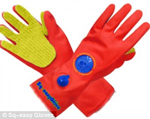Sq-easy Gloves, pictured, are another finalist. They are washing-up gloves with an in-built refillable soap dispenser