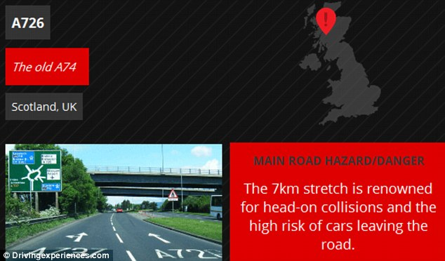Scotland's A726, otherwise known as the old A74 has a fear factor of four out of 10. The map explains that the seven kilometre stretch of road is renowned for head-on collisions and has racked up nearly 40 fatalities between 2000 and 2005