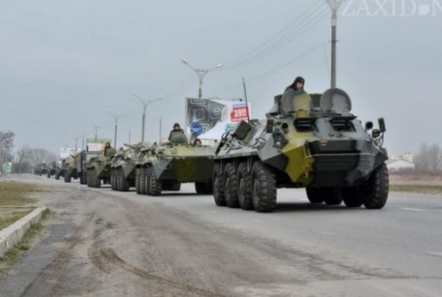 Heading to Ukraine? Armoured personnel carriers near Rostov in Russia