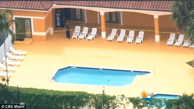 Tragic drowning: Althea Bradford's 2-year-old twins, Jada and Henry Roman, were discovered floating in this community pool in sunrise, where they ended up after sneaking out of their baby sitter's apartment