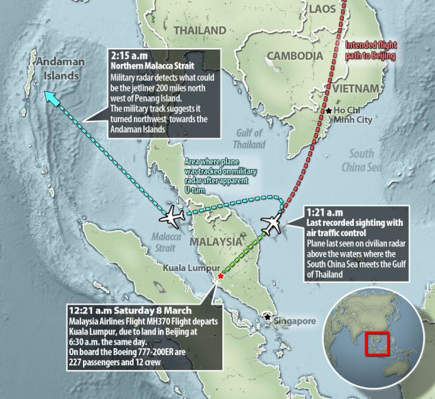 Theories: Suspicions are increasing that flight MH370 was deliberately diverted, as evidence suggests it took a sharp turn to the west and headed out over the Andaman Islands, sources have claimed