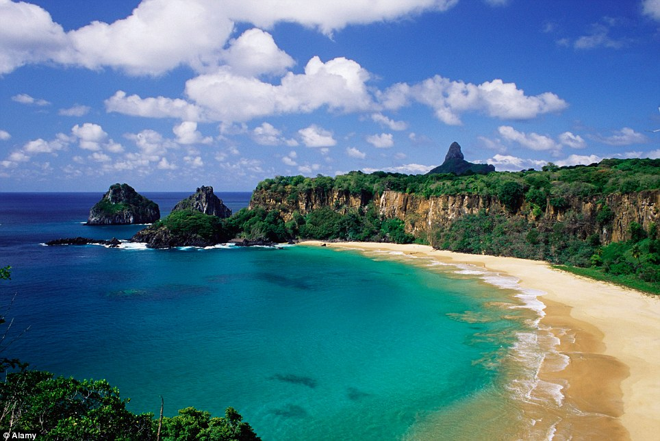 Breathtaking beach: Baia do Sancho in Brazil has been named the best stretch of sand in the world by TripAdvisor