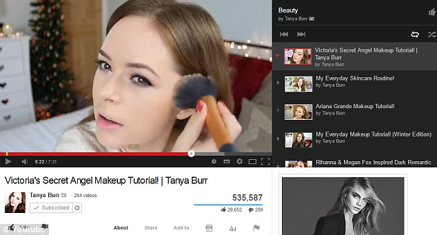 Booming industry: A new survey has revealed that two fifths of British women are watching the likes of Tanya Burr and other YouTube bloggers to get beauty tips