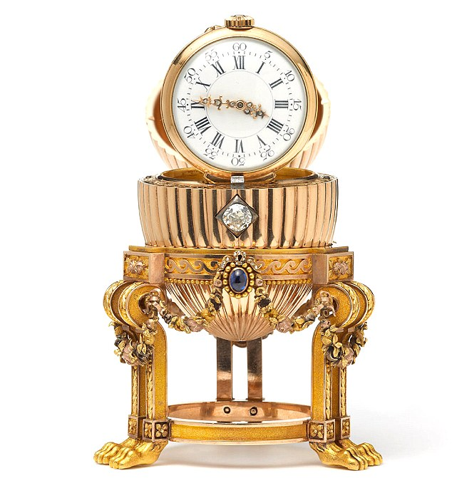 Intricate: The egg contains a Vacheron Constantin watch which was given by Alexander III to his wife Empress Maria Feodorovna for Easter in 1887