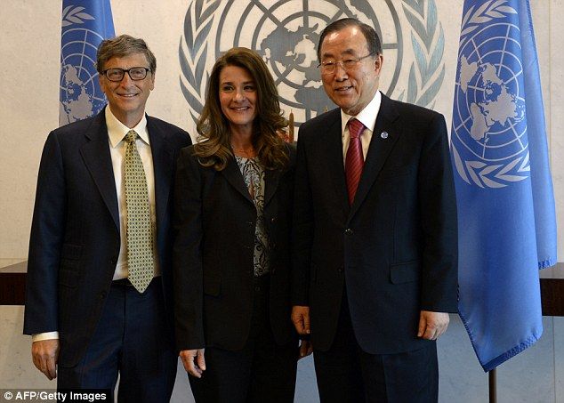 Forward thinking: Bill and Melinda Gates, pictured with UN Secretary-General Ban Ki-Moon, plan to leave most of their $76 billion fortune to their charity