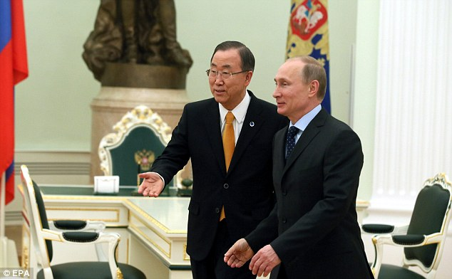 Concerned: Ban Ki-moon told Putin on Thursday he is 'deeply concerned' by the stand-off between Russia and Ukraine