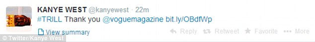 Simple but effective: Kanye tweeted 'thank you' with a link to the magazine's website