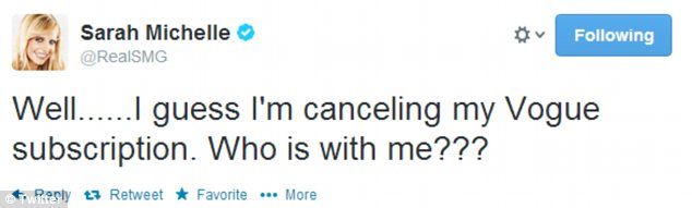 Opting out: A disgusted Sarah Michelle tweeted that she was cancelling her Vogue subscription over the Kimye cover