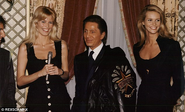 Supers: Valentino Garavani, fashion designer, with models Claudia Schiffer and Elle Macpherson at a show in Paris in 1995