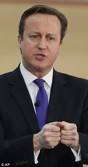 Gift: Prime Minister David Cameron claims the donations are a mark of Britain's compassion
