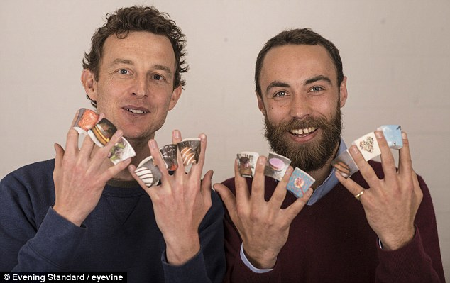 Business: James Middleton (right) and Andy Bell with marshamllows from Boomf. The new venture uses Instagram images on the sweets