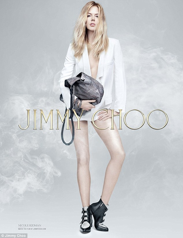 Rock chic: Nicole Kidman has returned for her fourth campaign for luxury footwear brand Jimmy Choo