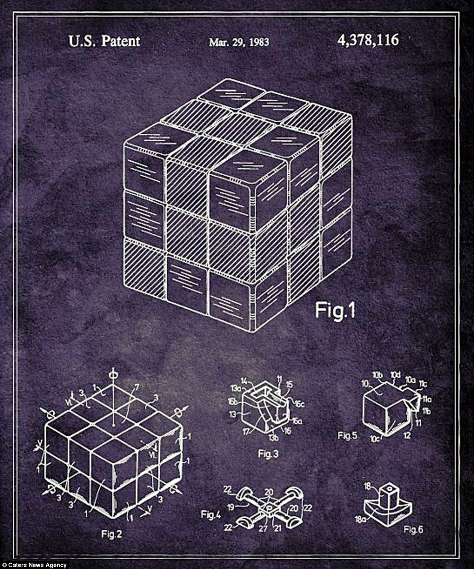 Blueprints of the Rubik's Cube (pictured) go some way as to explain its fiendish difficulty to solve. In a classic Rubik's Cube each of the six faces is covered by nine stickers in white, red, blue, yellow, green and orange and an internal pivot mechanism enables each face to turn independently to mix up the colours