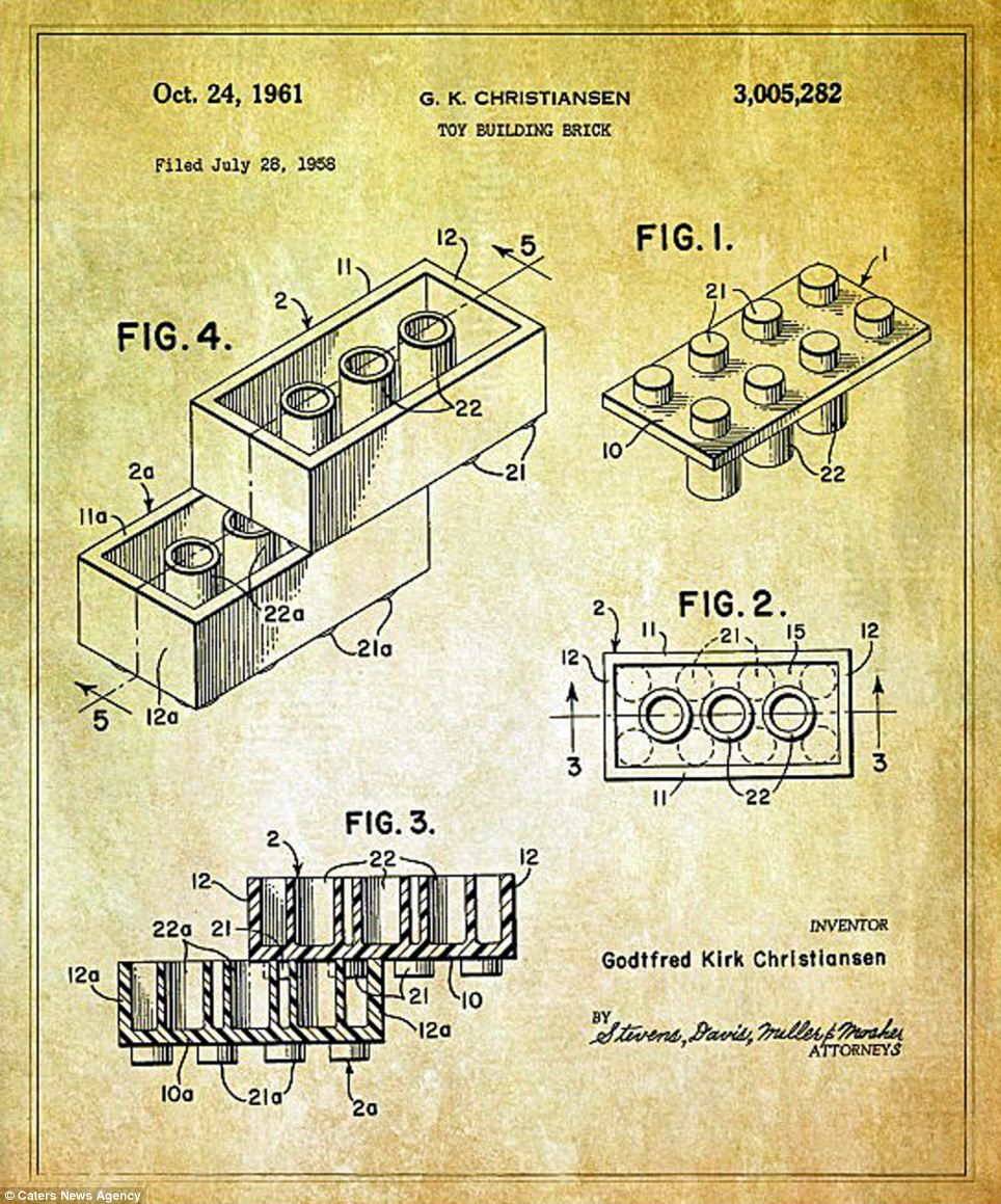 The re-worked blueprints include some of our favourite toys such as the Lego brick, which was awarded it's for U.S. patent for a 'toy building brick' in 1961 - and has now expired - meaning that anyone can copy it