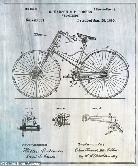 There have been many tweaks to bicycle design over the years, but this blueprint of the velocipede, patented in 1890 still has classic appeal