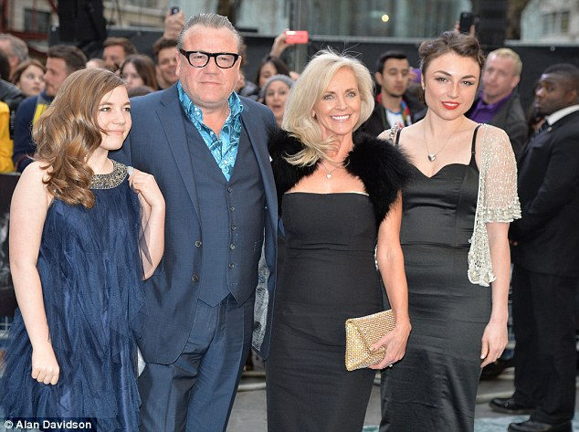 Bold in blue: Ray Winstone posed on the red carpet with his family members